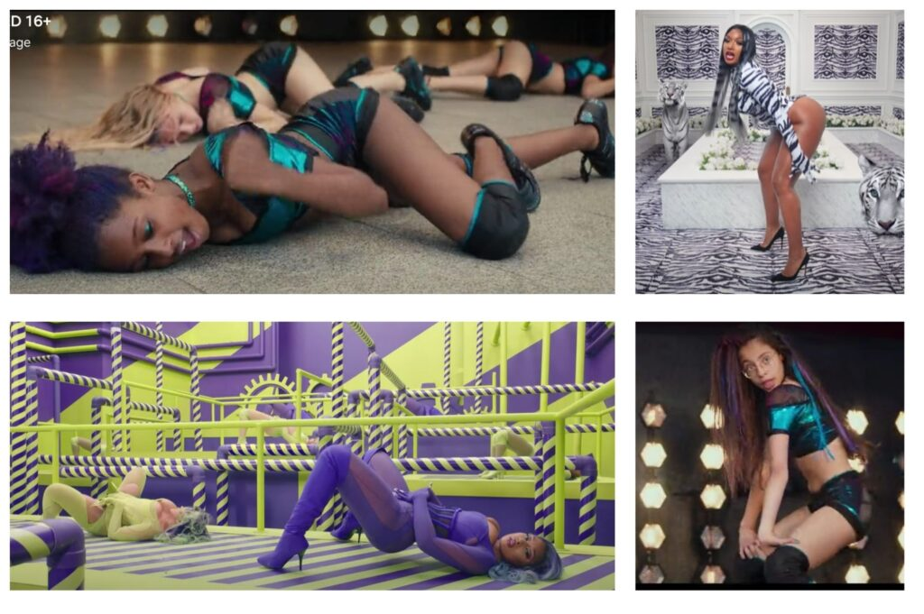 A comparison between WAP and Cuties in which the girls are seen to be mimicking Cardi B's music video almost exactly.